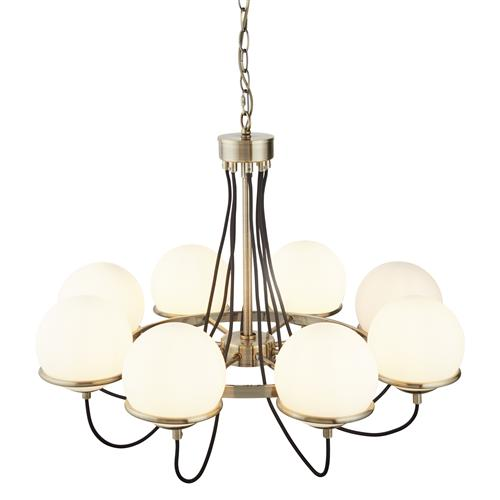 Sphere LED Antique Brass Eight Arm Ceiling Light 7098-8AB