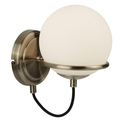 Sphere LED Antique Brass Single Wall Light 7091Ab