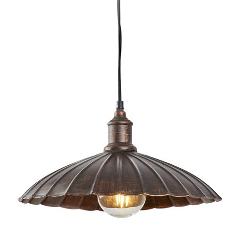 Umbrella LED Bronze Painted Scalloped Ceiling Pendant Fitting 2715Bz
