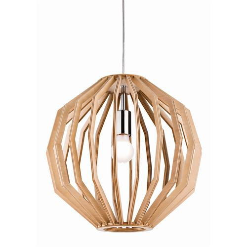 Daria 400MM Natural Wood/Chrome Pendant Light 6371-20