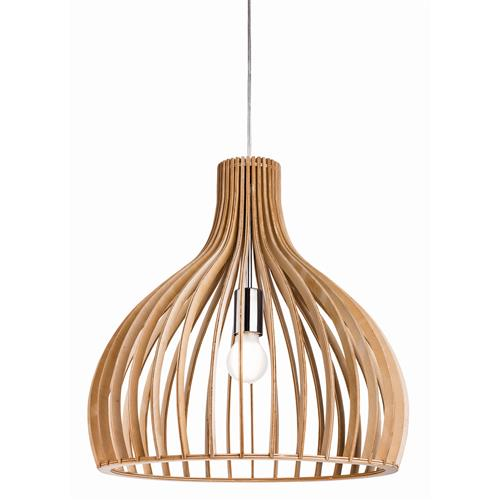 Daria Natural Wood/Chrome 460MM Pendant Light 4371-20