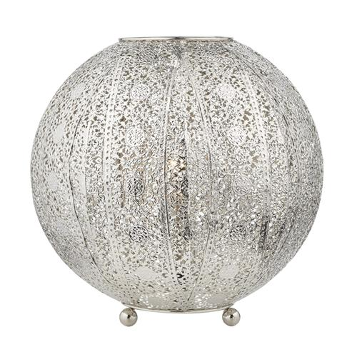BAZ4032 Antique Silver Filagree Globe Table Lamp