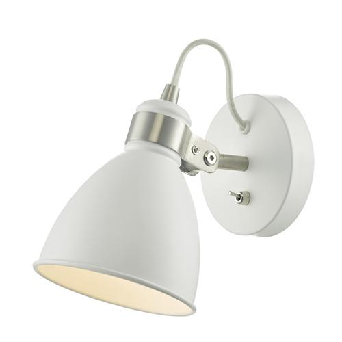 Frederick Satin Chrome and White Switched Single Wall Light FRE0702