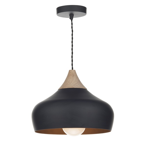 GAU0122 Gaucho Single Drop Pendant Black