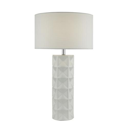Gift White Embossed Geometric Table Lamp Gif422