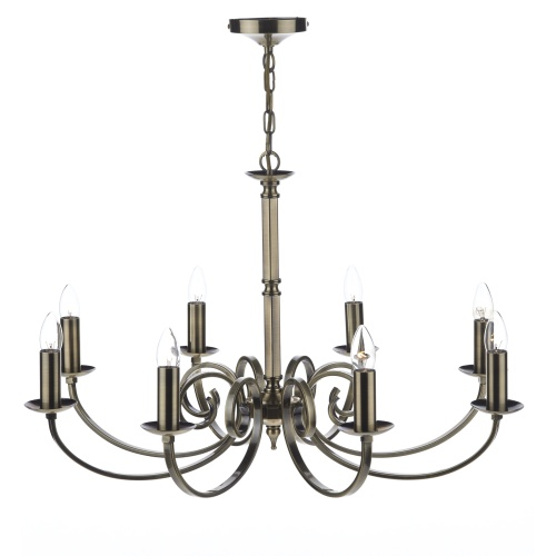 Murray 8 Light Antique Brass Multi Arm Ceiling Fitting MUR0875