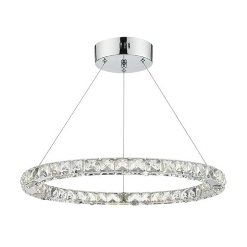 Roma Single Polished Chrome Crystal Ceiling Pendant ROM1750