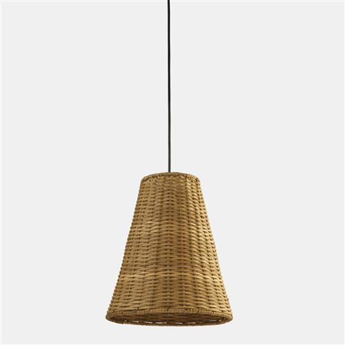 Caribe Real Rattan Brown Single Pendant Light 00-8109-05-ES