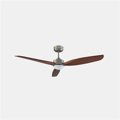 Embat Satin Nickel And Wood LED Ceiling Fan 30-8000-81-F9