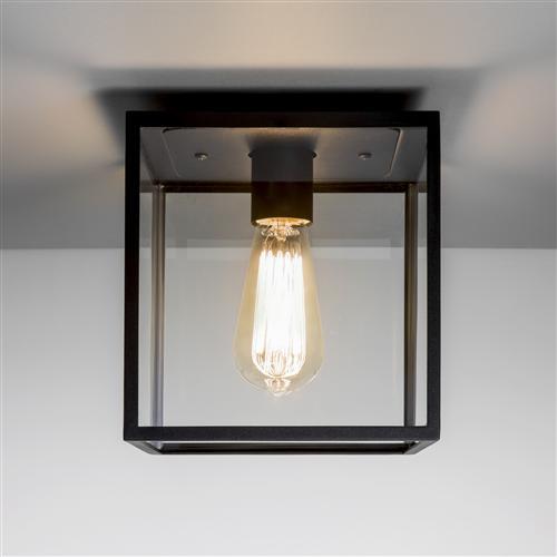 Box Square Ip23 Black Outdoor Porch Ceiling Light 1354001
