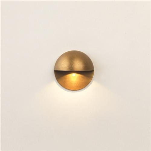 Tivoli Recessed Antique Brass LED Coastal Outdoor Wall Light 7971
