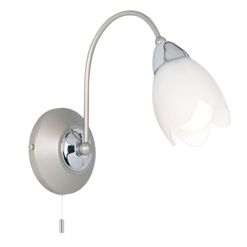 Petal Satin Chrome Single wall light 124-1