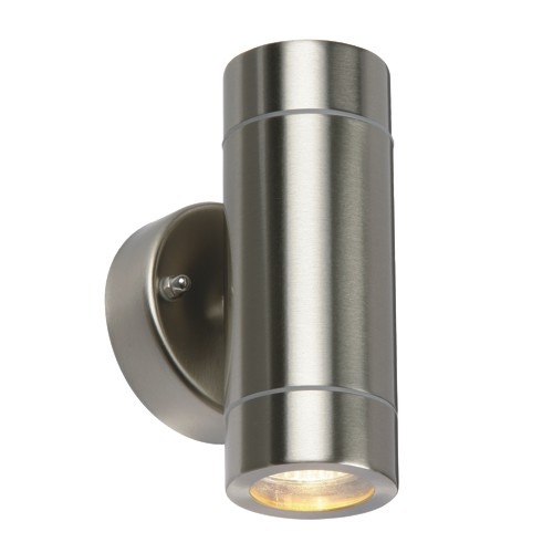 Steel and chrome outdoor wall lights the lighting superstore palin twin outdoor wall light 13802 mozeypictures Gallery