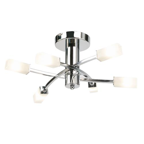 Havana Chrome 6 Arm Semi Flush Light 146-6CH