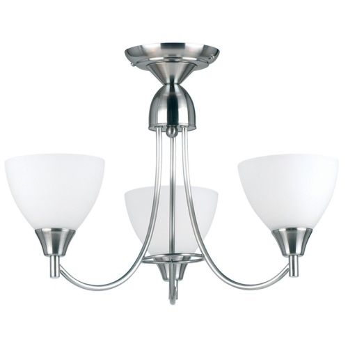 Alton Satin Chrome Semi Flush Ceiling Light 1805-3SC