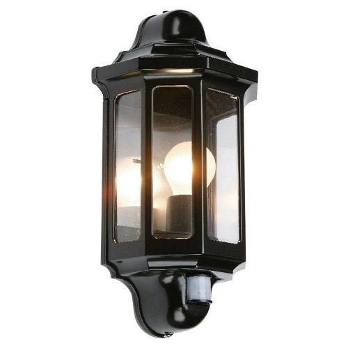 Wall Lamps With Pir : Pir Black Garden Wall Light 1818 The Lighting Superstore