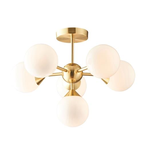 Baran LED 6 Light Brushed Brass/White Glass Semi Flush Fitting 76501