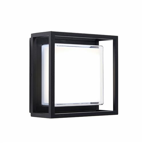 Beatris LED Textured Black Box Outdoor Wall Light 80546