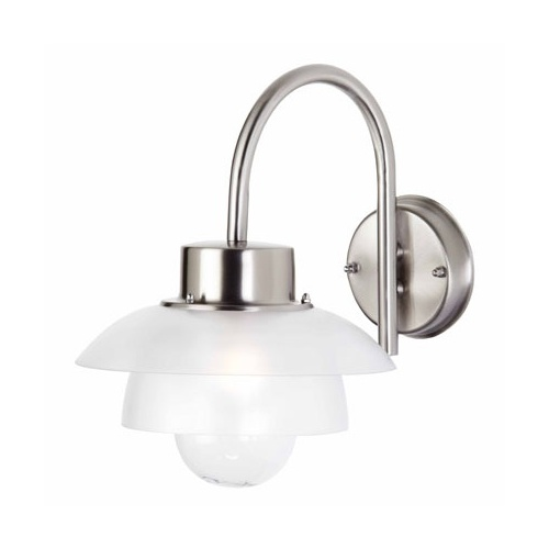 Chrome Garden Wall Lights : EL40064 Outdoor Wall Light. Satin Steel / Chrome Outdoor Wall Lights from The Lighting Superstore.