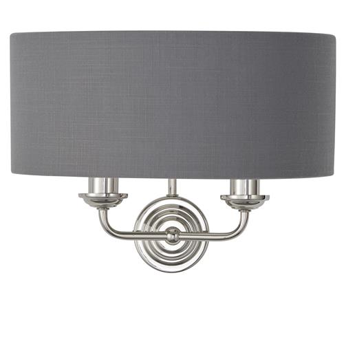 Highclere 2 Light Charcoal Shade Nickel Wall Fitting 94406