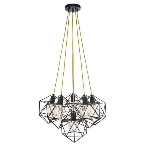 Icosa Matt Black 6 Light Ceiling Pendant 81745