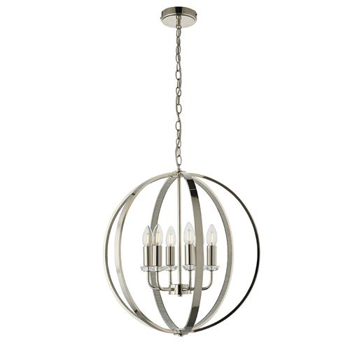 Ritz Bright Nickel 6 Light Multi-Arm Pendant 81508