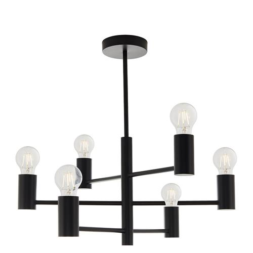 Studio Matt Black 6 light Multi Arm Semi Flush Ceiling Fitting 76502