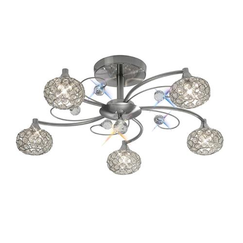 Cara Satin Nickel Crystal Ceiling Light IL30935