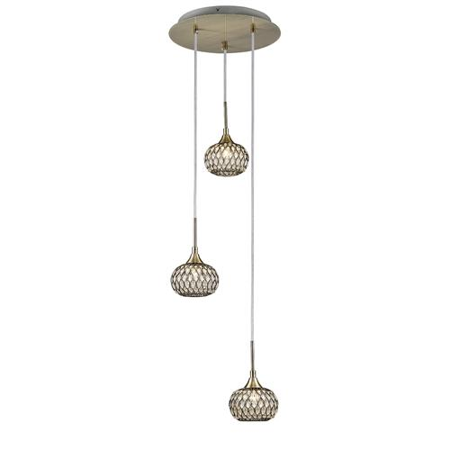 Chelsie Three Light Round Pendant Antique Brass IL31515