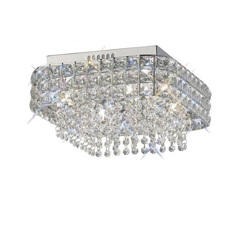 Edison 4 Light Square Chrome and Crystal Ceiling Fitting IL31152