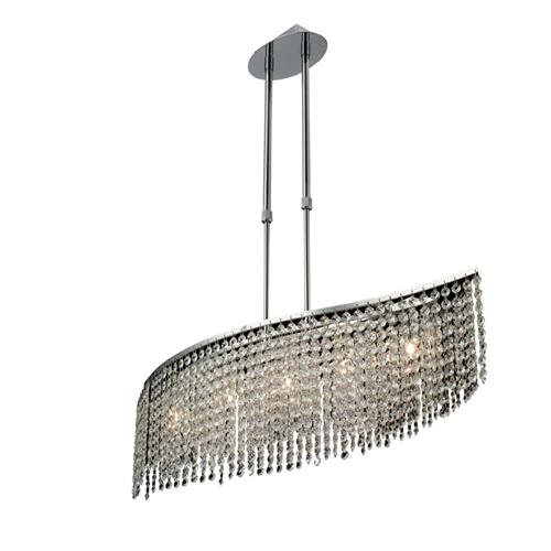 Fabio Chrome Five Lamp Crystal Ceiling Pendant IL30574