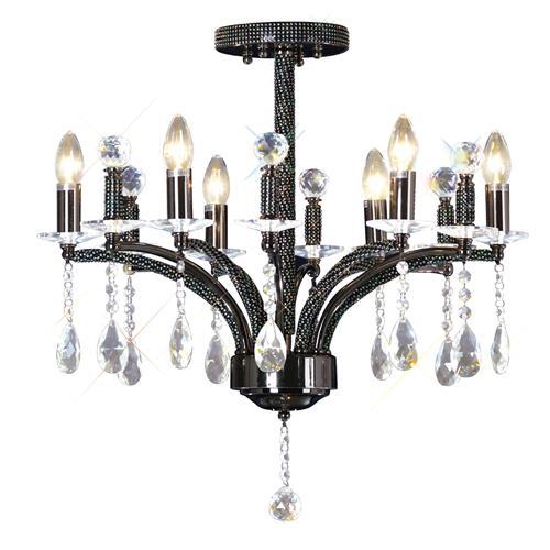 Lamp Crystal Encrusted Ceiling Light, Black Chrome Crystal Chandelier