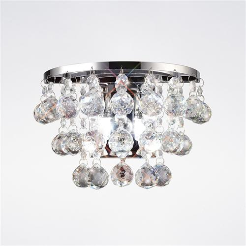 Atla Chrome Switched Crystal Wall Light IL30014