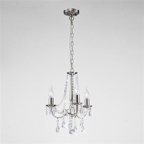 Kyra 3 Arm Satin Nickel and Crystal Ceiling Pendant IL30973