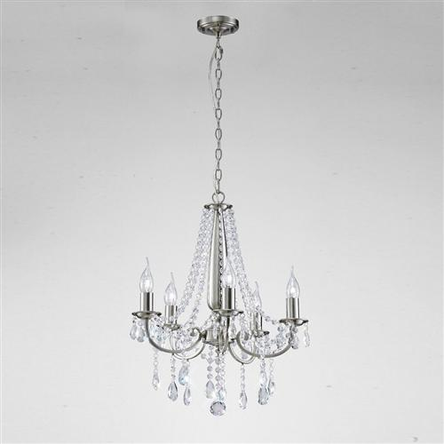 Kyra 5 Arm Satin Nickel and Crystal Ceiling Pendant IL30975