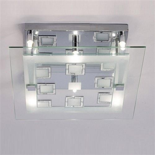 Destello Square Chrome and Crystal Ceiling Light IL30982