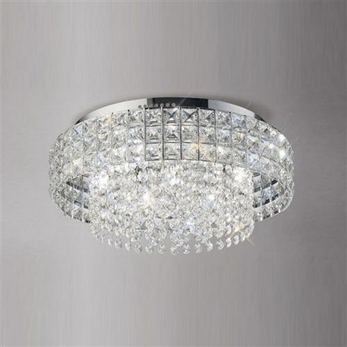 Edison 7 Light Round Chrome and Crystal Ceiling Fitting IL31151