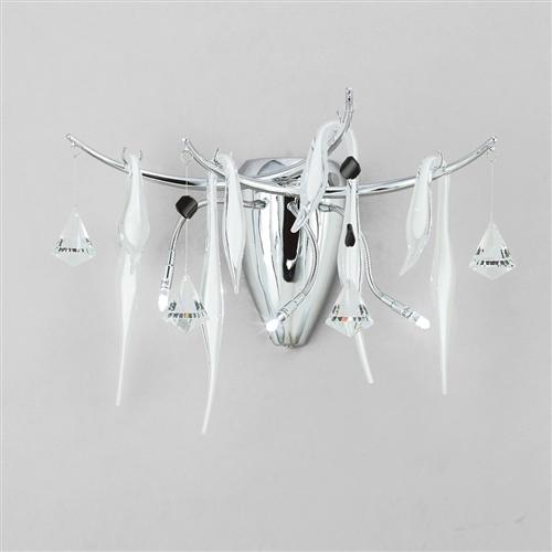 Cygnet White and Chrome Crystal Wall Light IL50421