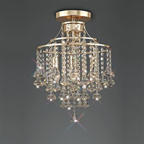 Inina French Gold Clear Crystal Ceiling Fitting Il32770