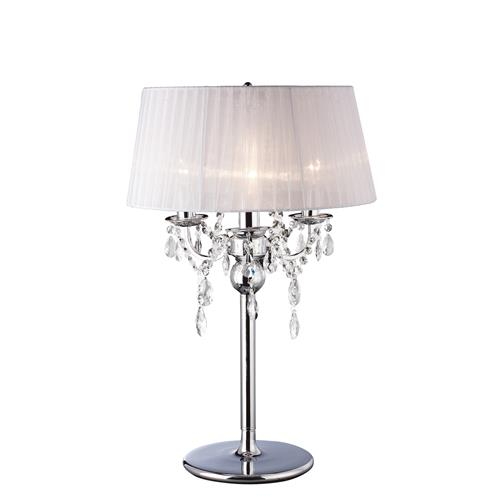 Olivia Chrome/White Crystal Table Lamp IL30062/WH