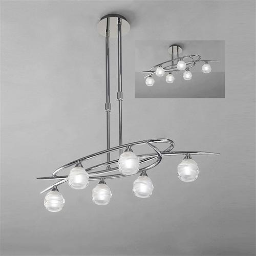 Loop Chrome Six light adjustable pendant M1801