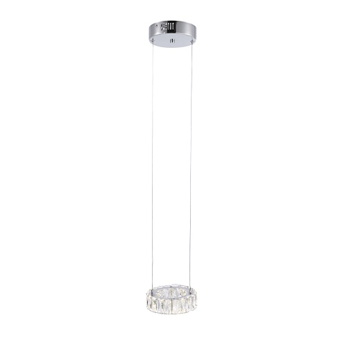 2591-17 Neil LED Chrome Single Crystal Pendant Light
