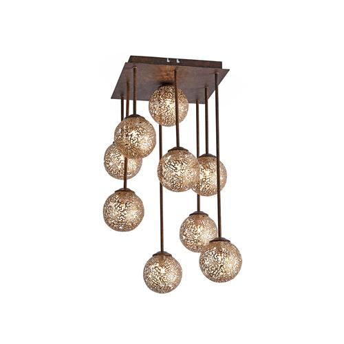 Greta Rust Coloured Ceiling 9 Light 6238-48