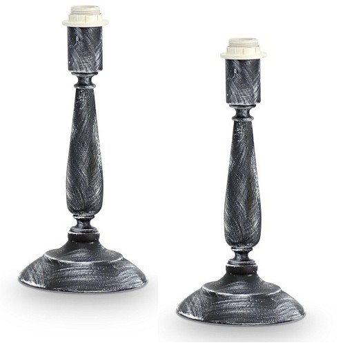 49312 Vintage Table Lamp Patina Grey Pack Of 2