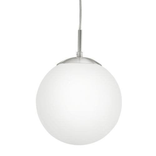 85261 Rondo Small Pendant - Small Globe Ceiling Pendant, finished in Matt Nickel with Opal Globe.