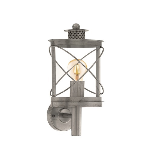 Hilburn 1 Outdoor Antique Silver Wall Light 94865
