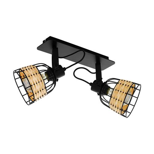 Anwick 1 Double Black & Natural Ratten Ceiling Spotlight 43325