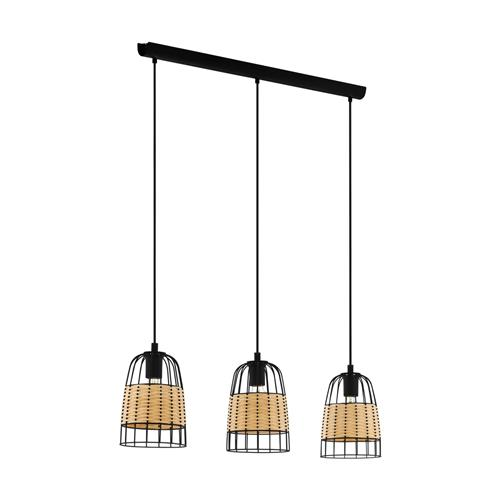 Anwick Black & Natural Ratten Three Light Pendant 43313