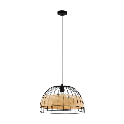 Anwick Large Black & Natural Rattan Ceiling Pendant 43312