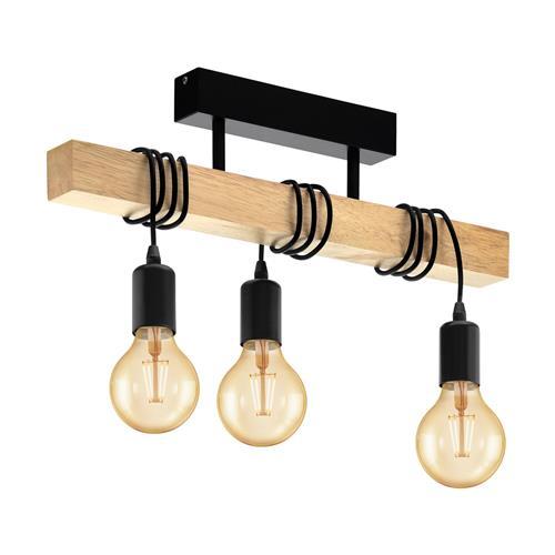 Barnstaple Black Steel Wood Semi Flush Ceiling Light 32915